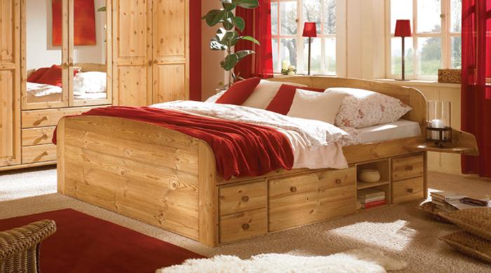 kiefer doppelbett jan 180x200 massiv bett schublade neu ebay. Black Bedroom Furniture Sets. Home Design Ideas