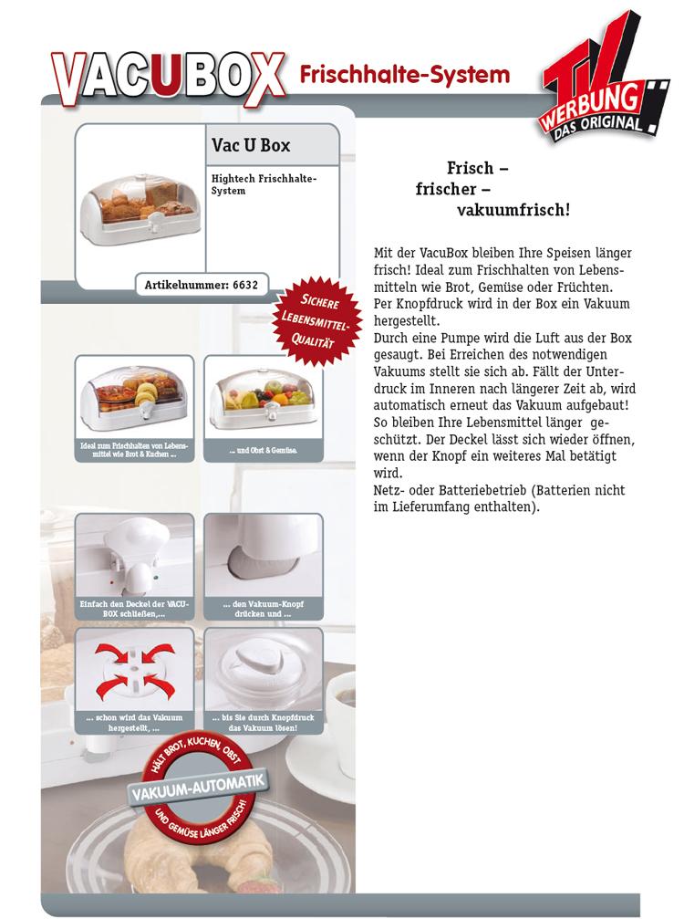 vac u box brotkasten vakuum dose frischhaltebox brotbox. Black Bedroom Furniture Sets. Home Design Ideas
