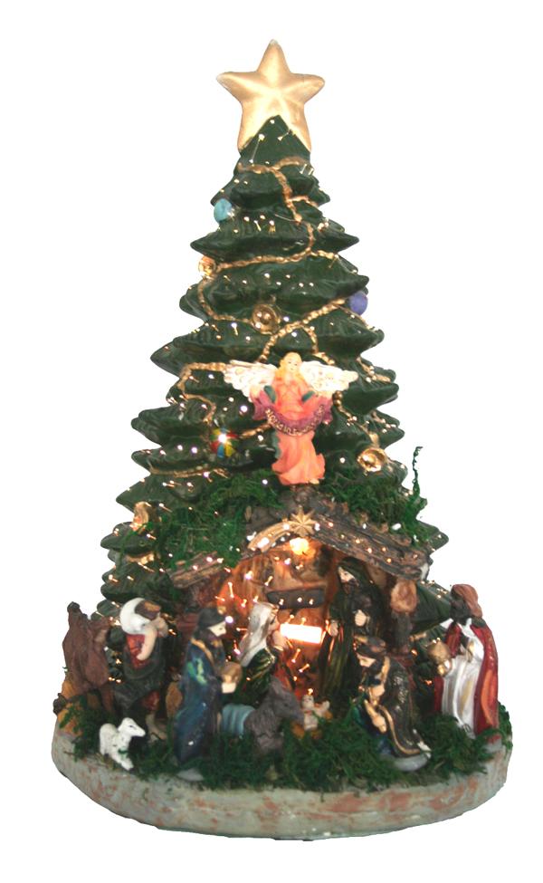 43cm beleuchteter weihnachtsbaum mit krippe tannenbaum. Black Bedroom Furniture Sets. Home Design Ideas