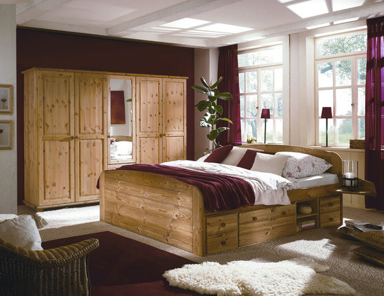 kompl schlafzimmer jan bett kleiderschrank kiefer ebay. Black Bedroom Furniture Sets. Home Design Ideas