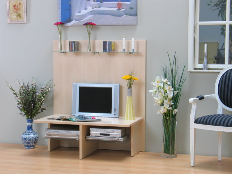 tv wand hifi tv m bel tisch fernsehtisch ahorn mit glas neu ebay. Black Bedroom Furniture Sets. Home Design Ideas