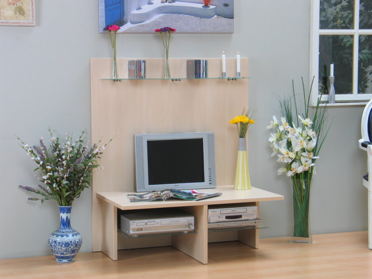 tv wand hifi tv m bel tisch fernsehtisch ahorn mit glas neu ebay. Black Bedroom Furniture Sets. Home Design Ideas