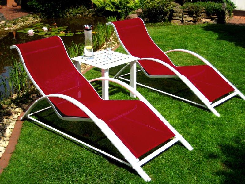 Design leco 3tlg sonnenliege tisch liegestuhl liege for Design tisch rot